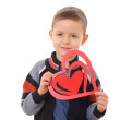 Boy with big heart — Stock Photo