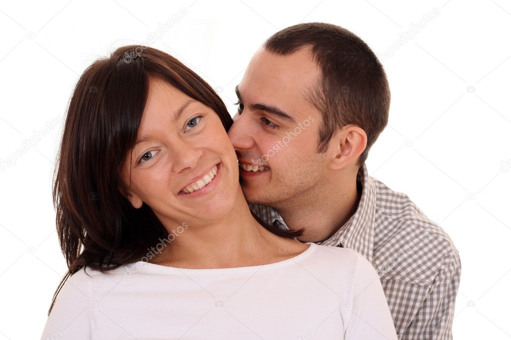 Happy couple - woman and man 25-30 years old isolated on white — Stock Photo #4447046