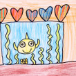 Room with aquarium - crayon drawing — Stock Photo