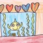 Room with aquarium - crayon drawing — Stock Photo