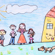 Happy family - crayon drawing - Stock Photo