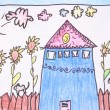 Sunny day- crayon drawing — Stock Photo