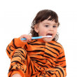 Girl and tooth-brush — Stock Photo