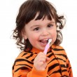 Girl and tooth-brush - Stock Photo