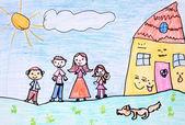 幸福的家庭-蜡笔画 — 图库照片