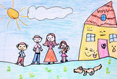 Happy family - crayon drawing — Stock Photo