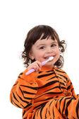 Fille et brosse à dents — Photo