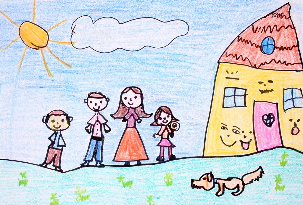 Crayon drawing of happy family - made by child — Lizenzfreies Foto #4455564