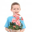 Boy with potted flower — Stock Photo #4468866