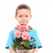 Boy with potted flower — Stock Photo #4468898