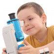 Boy with microscope - Stock Photo