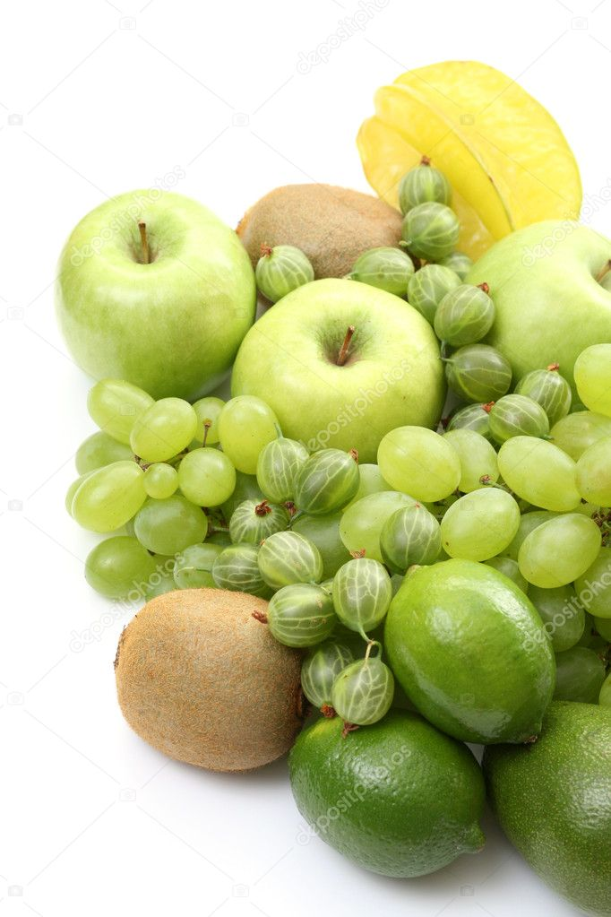 Pile of various green fruits on white background — Stock Photo #4479789