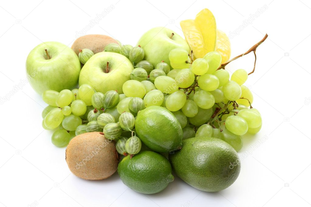 Pile of various green fruits on white background — Stock Photo #4479797