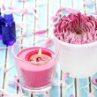 Stock Photo: Essential oil flower and candle