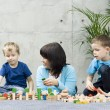 Family fun with wooden blocks - Lizenzfreies Foto
