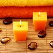 Towels and candle — Stock Photo