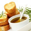 Baguette and olive oil — Stock Photo