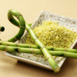 Bath salt with green bamboo — Stock Photo