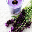 Candle with lavender — Stock Photo