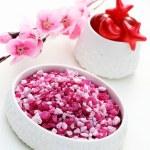 Pink bath salt — Stock Photo