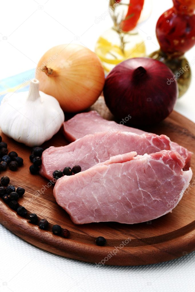 Raw pork ready to make dinner - food and drink — Stock Photo #4535648