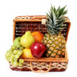 Picnic basket with fruits — Stock Photo