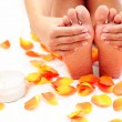 Feet care in bed — Stock Photo #4572135