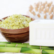 Green bamboo bath salt — Stock Photo
