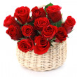 Basket full of red roses — Stock Photo