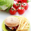 Royalty-Free Stock Photo: Cheeseburger and french fries
