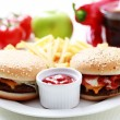 Cheeseburger and french fries — Stock Photo