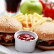 Cheeseburger and french fries — Foto Stock