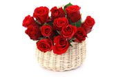 Basket full of red roses — Stock Photo