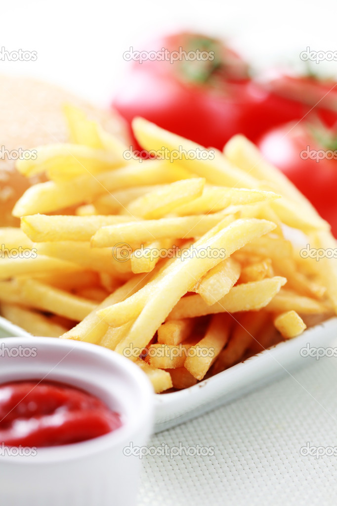 French fries and some burger - food and drink — Stock Photo #4577480