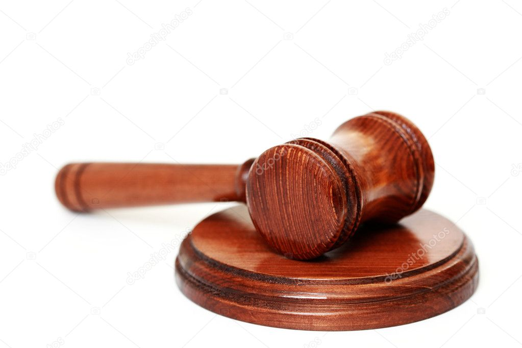 Judge's courtroom gavel on white background — Stock Photo #4577723