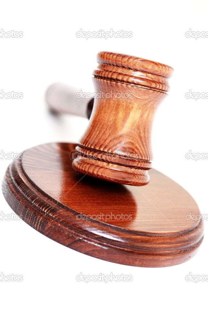Judge's courtroom gavel on white background — Stock Photo #4577724