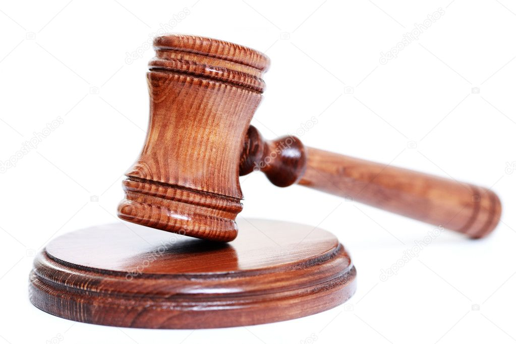 Judge's courtroom gavel on white background — Stock Photo #4577725