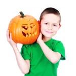 Boy with pumpkin — Stock Photo