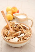 Healthy breakfast - musli and fruits — Stock Photo
