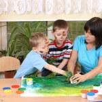 Preschoolers and fingerpainting — Stock Photo #4603562