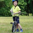 Preschooler and bike — Foto de Stock