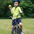 Preschooler and bike — Stock Photo