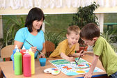 Preschoolers and painting — Stock Photo
