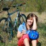 donna e moto — Foto Stock