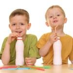 Drinking milk/jogurt — Stock Photo #4614884