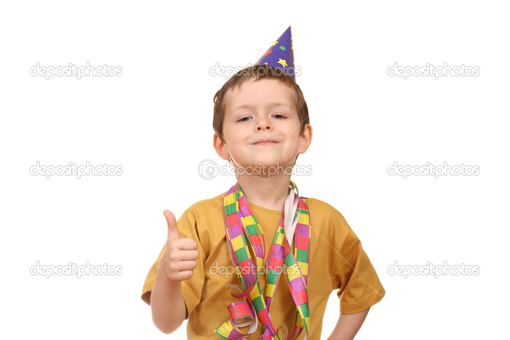 Five years old boy in party hat isolated on white  Stock Photo #4610527
