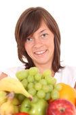 Kadın ve meyveler — Stok fotoğraf