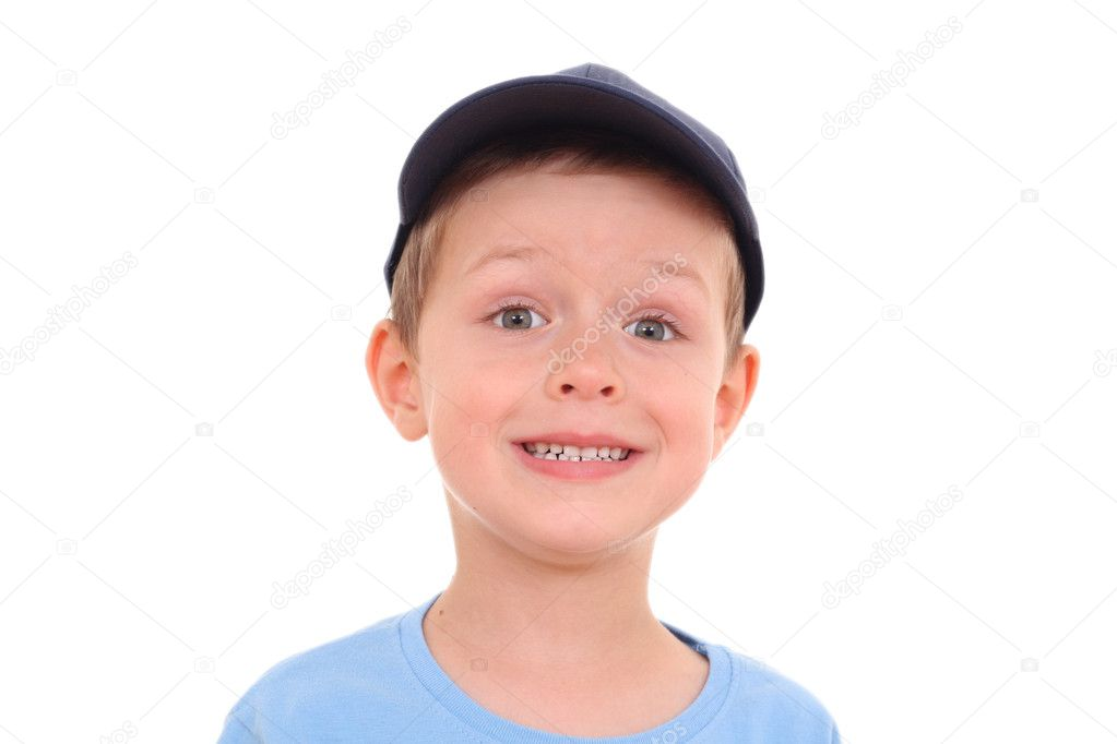 Portrait of 5-6 years old boy isolated on white  Stock Photo #4627943
