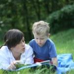 Reading outside — Stock Photo