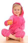 4 years old girl with nectarine — Stock Photo